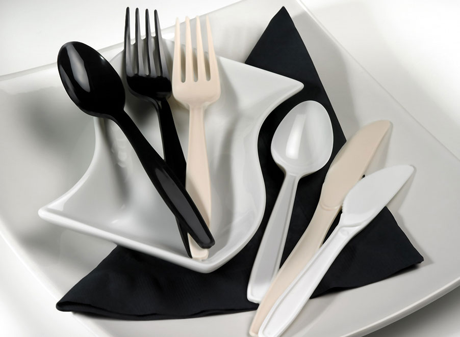 Disposable Cutlery in Black & White