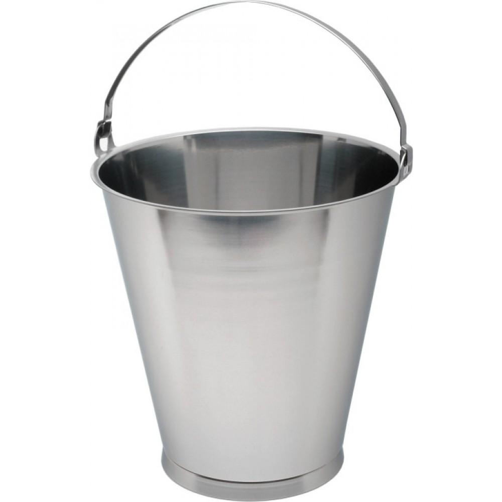 Genware Stainless Steel Bucket Skirted Base Graduated 15L