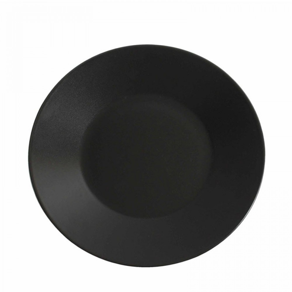 "Genware Luna Black Wide Rim Plate 25cm-9.8"""