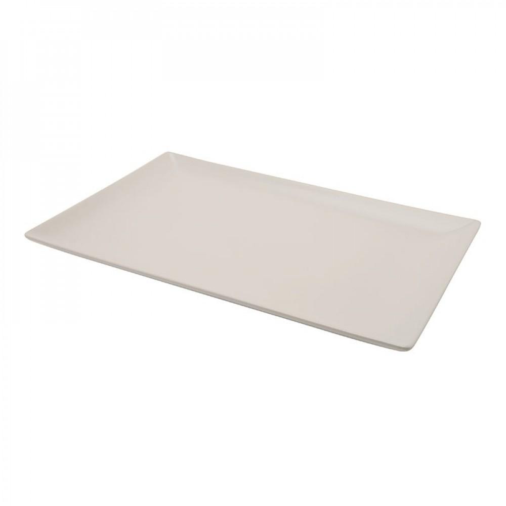 Genware Luna White Rectangular Plate 25x15cm