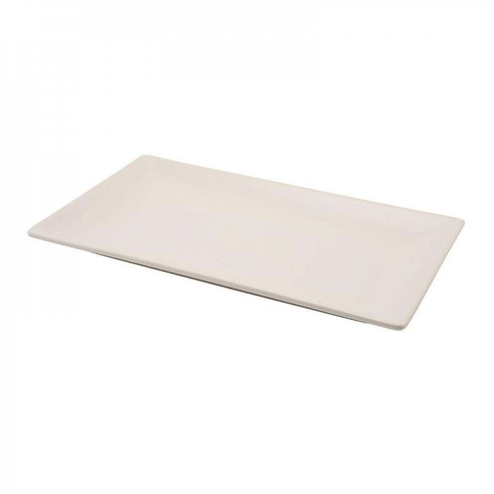 Genware Luna White Rectangular Plate 30x15cm