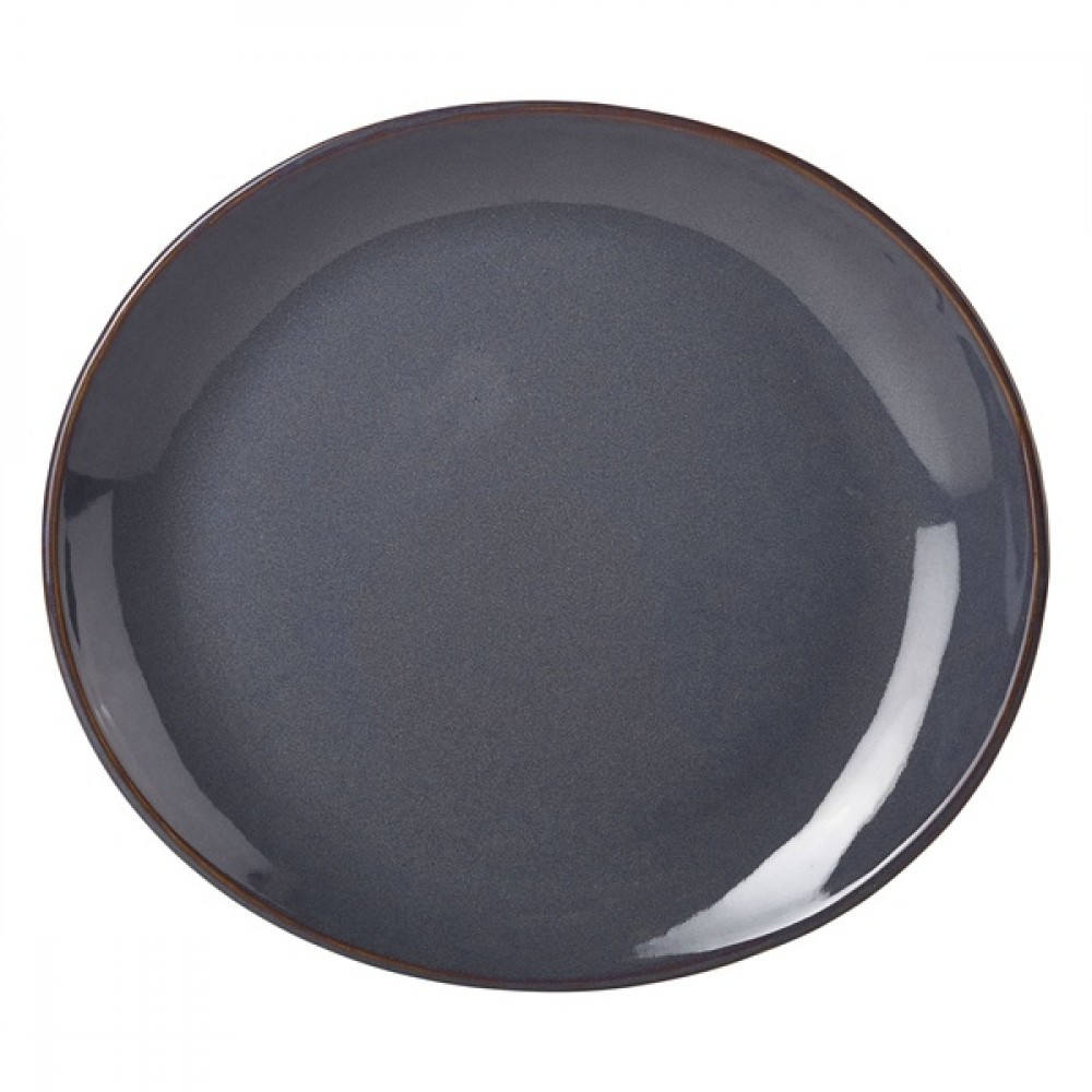 Terra Stoneware Oval Plate Blue 21cm-8.25""