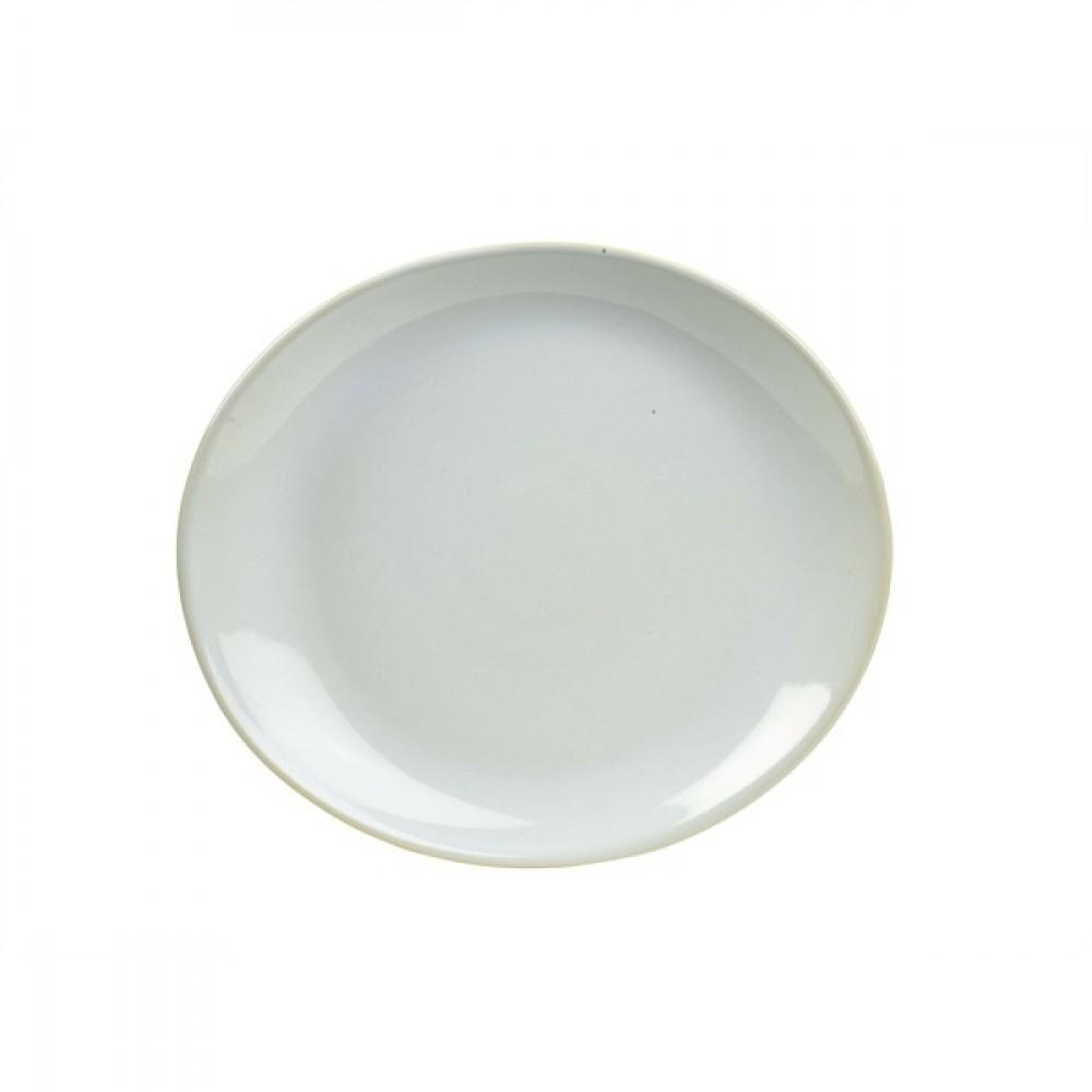 "Terra Stoneware Oval Plate White 21cm-8.25"""
