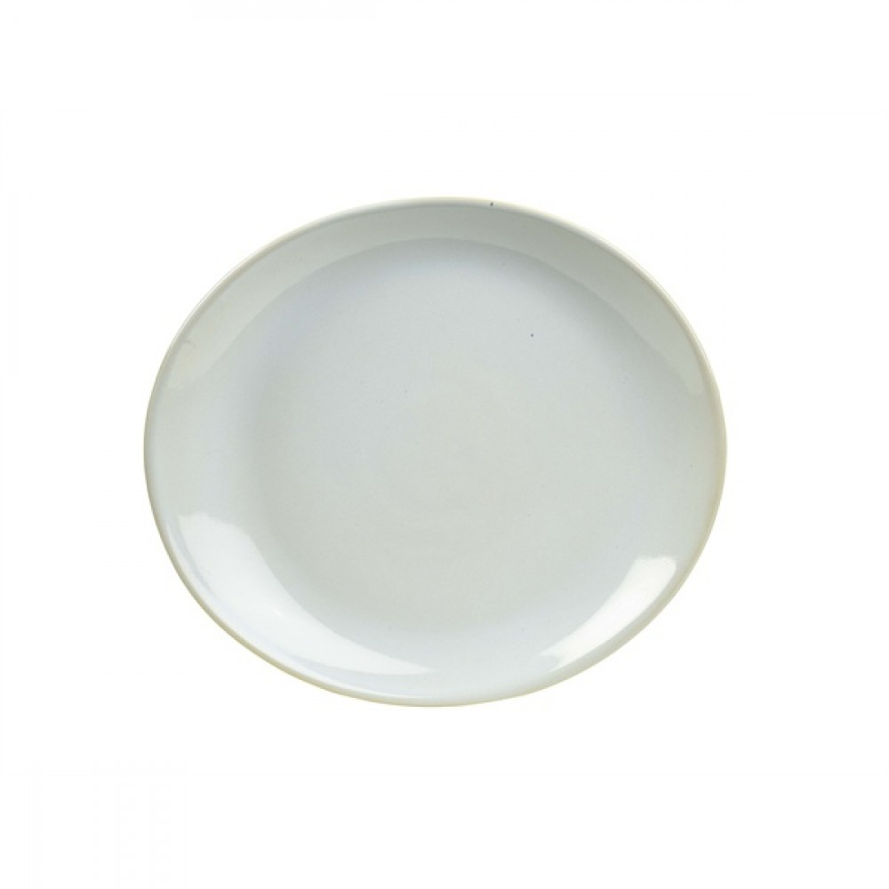 "Terra Stoneware Oval Plate White 25cm-9.8"""
