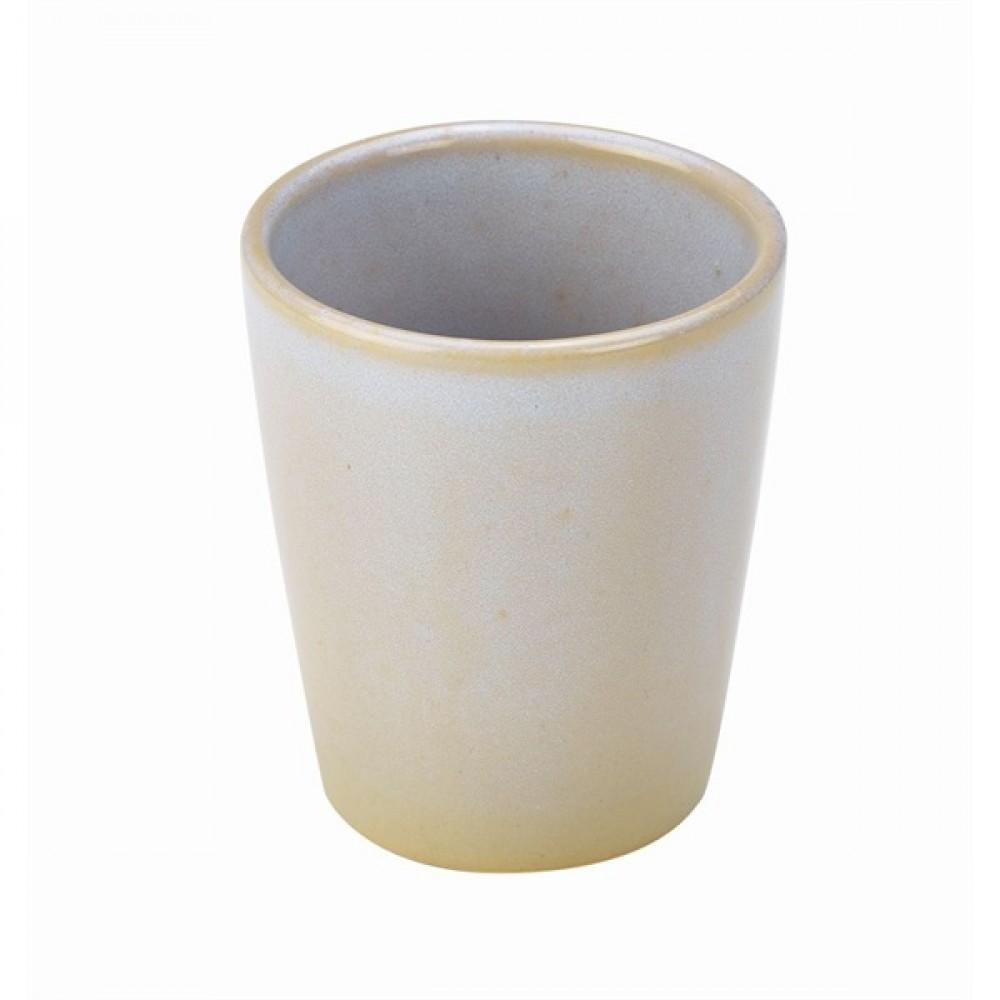 "Terra Stoneware Conical Cup White 10cm-4"""