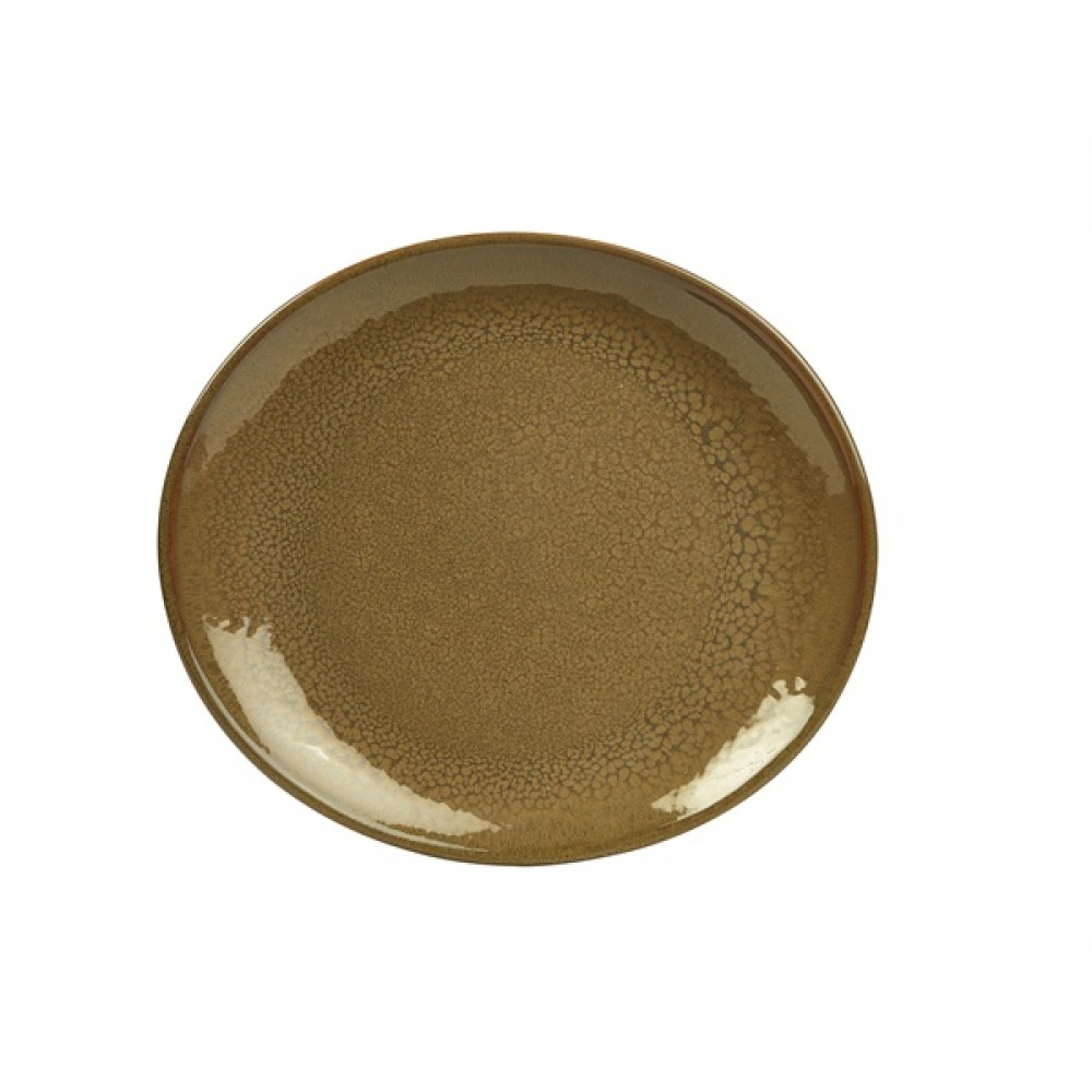 "Terra Stoneware Oval Plate Brown 25cm-9.8"""