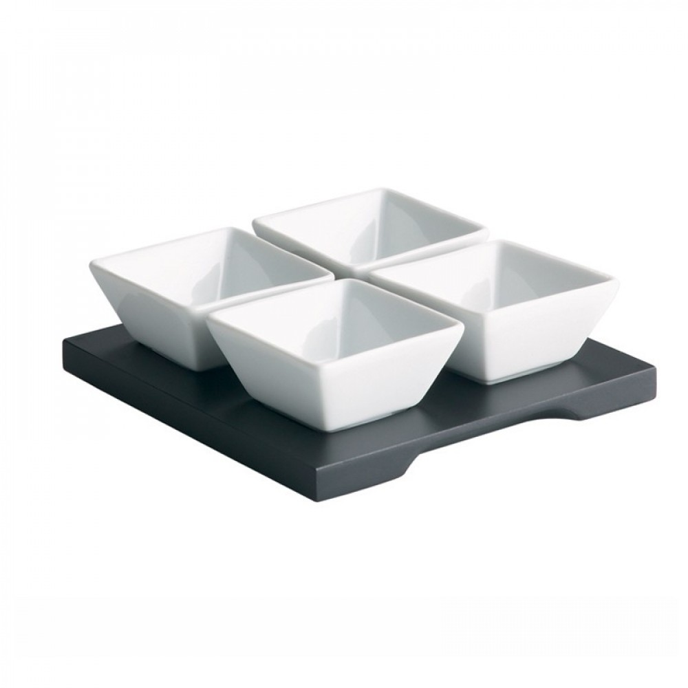 Genware Wooden Dip Tray Base Black 15x15cm With 4 Dip Dishes