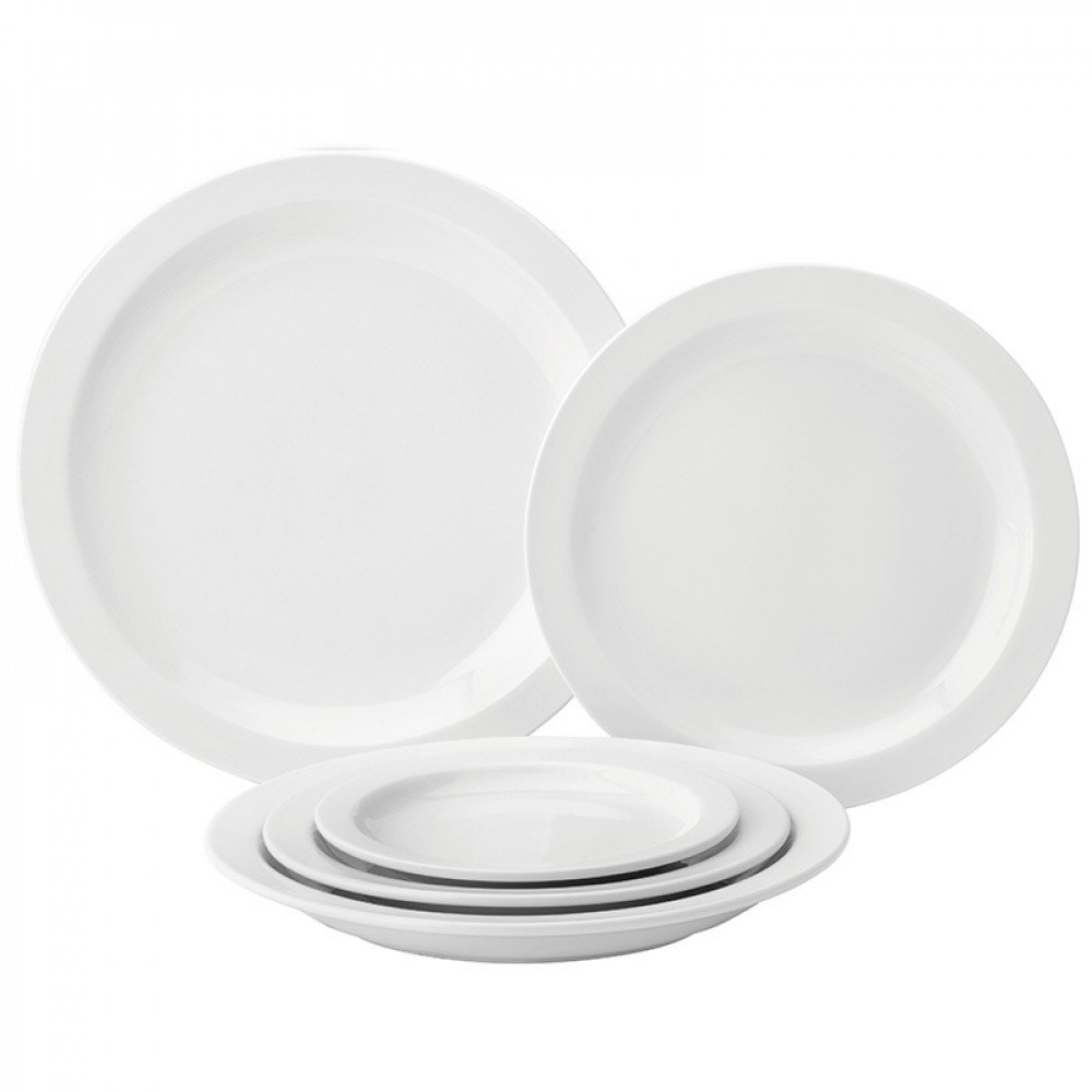 Utopia Pure White Narrow Rim Plate 23cm/9""