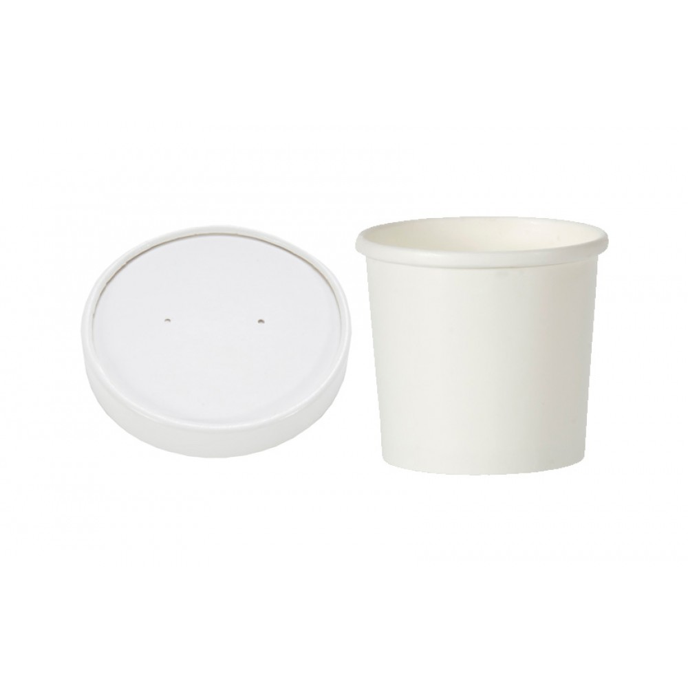 Berties White Heavy Duty Soup Container with Lid 16oz
