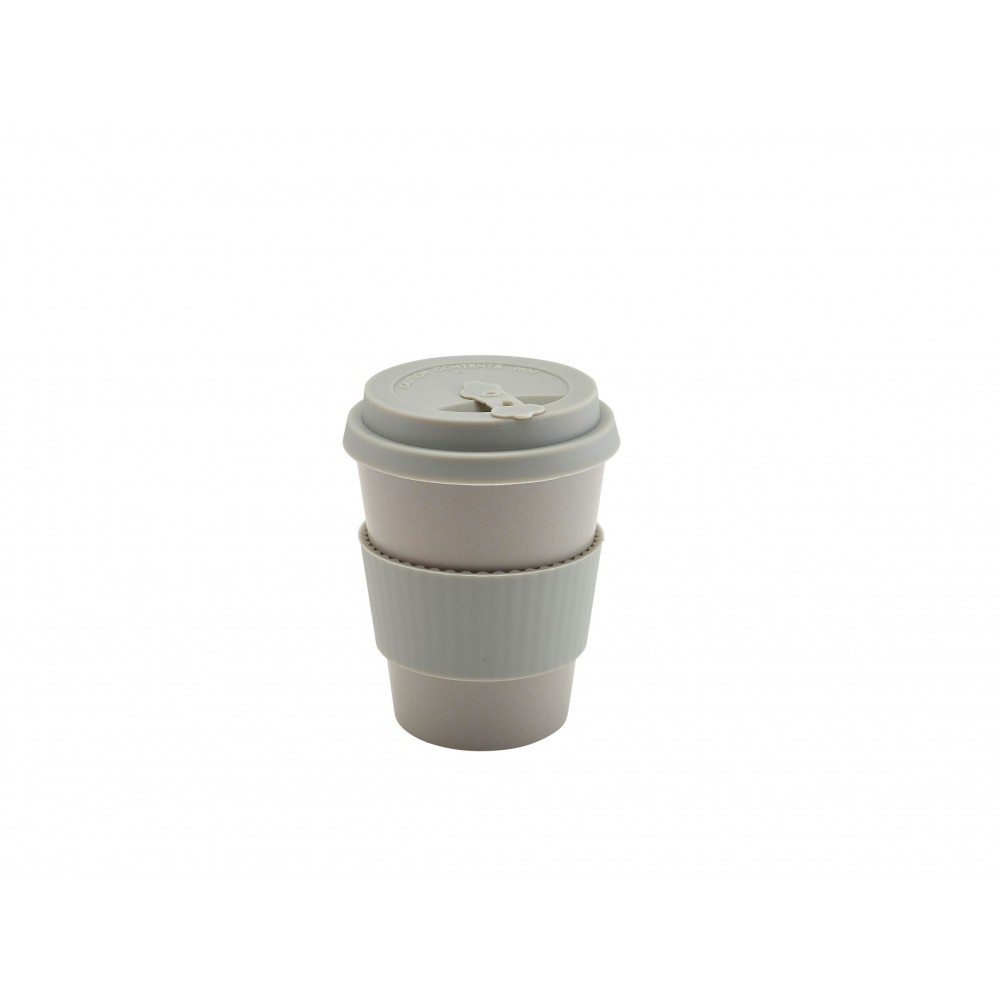 Berties Bamboo Fibre Reusable Coffee Cup Grey with Silicone Lid 35cl-12.25oz