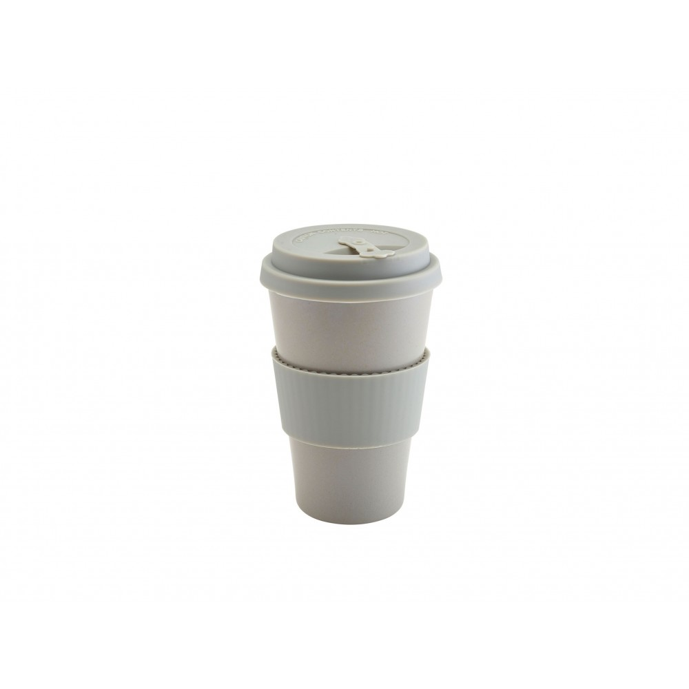 Berties Bamboo Fibre Reusable Coffee Cup Grey with Silicone Lid 45cl-15.75oz