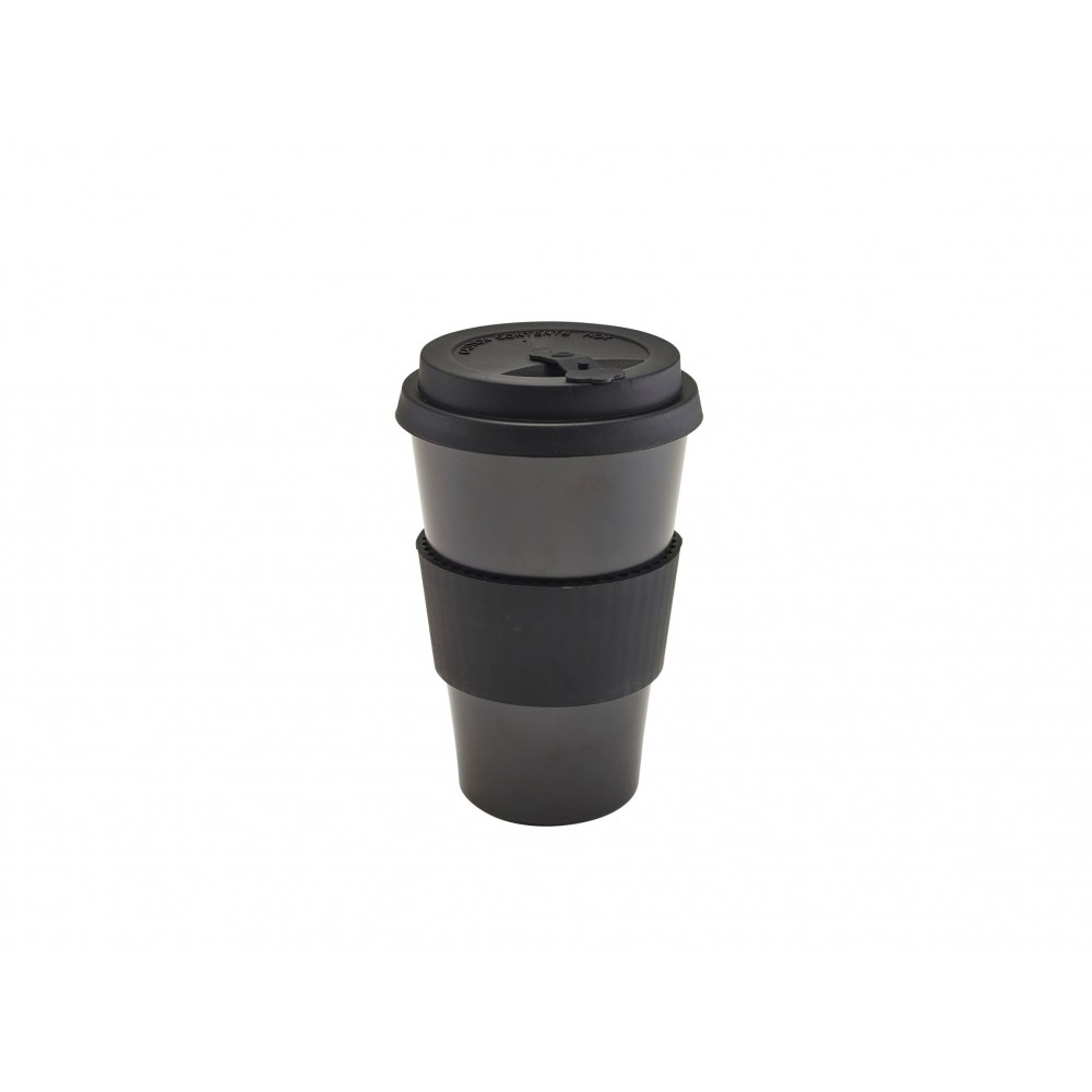 Berties Bamboo Fibre Reusable Coffee Cup Black with Silicone Lid 45cl-15.75oz