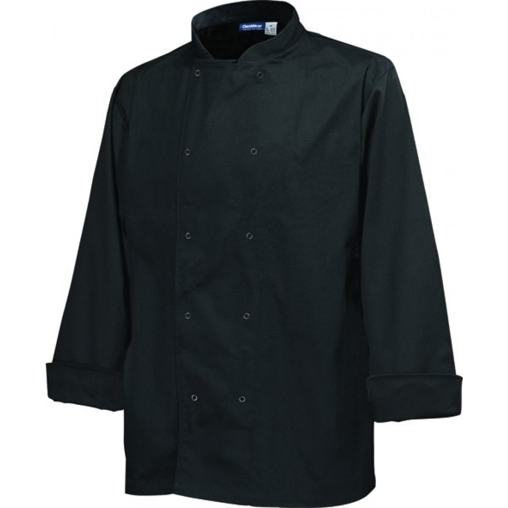"Genware Basic Stud Chef Jacket Long Sleeve Black M 40""-42"""