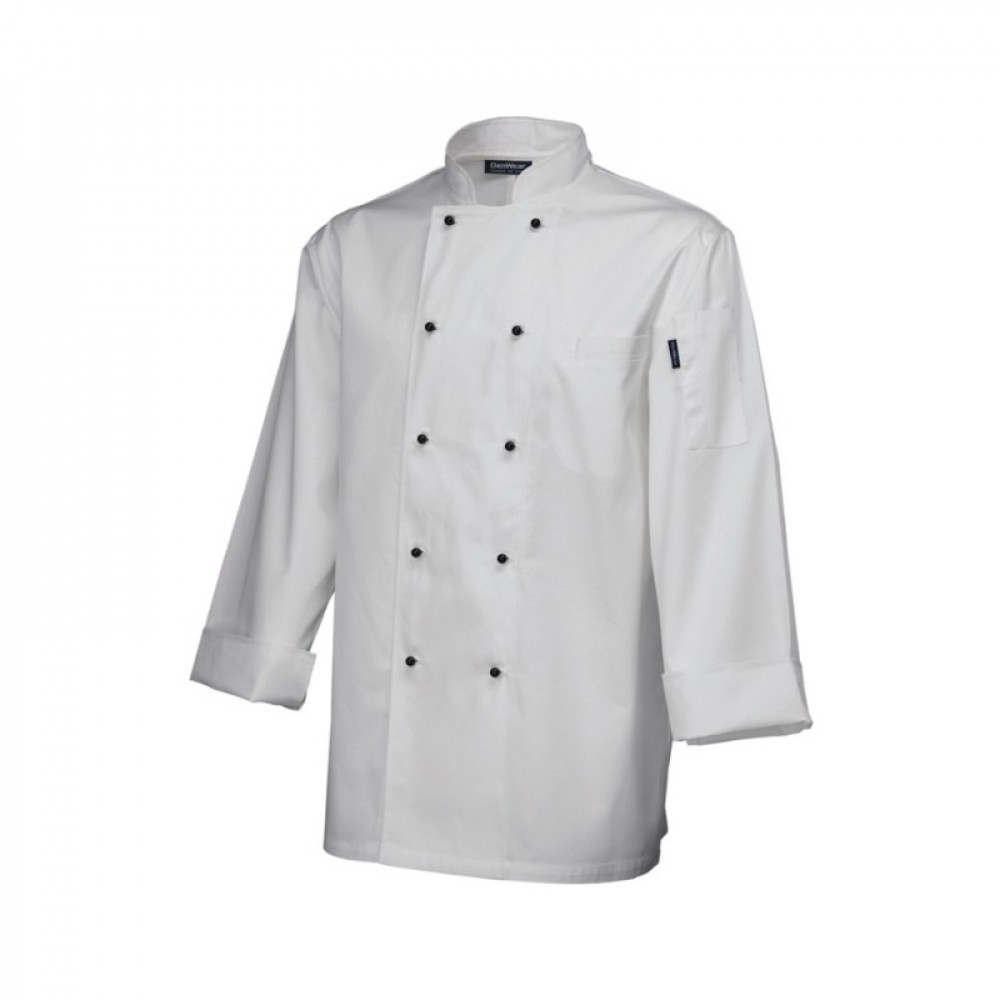 "Genware Superior Chef Jacket Long Sleeve White  XXL 52""-54"""