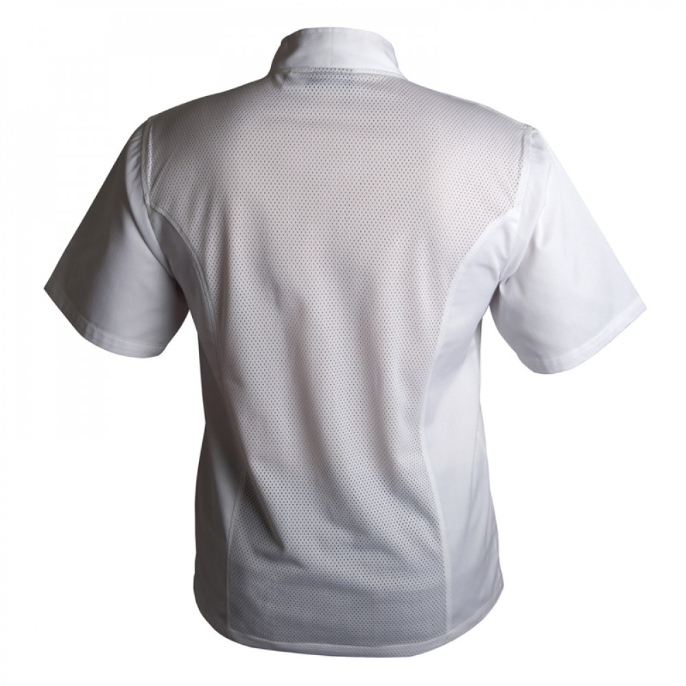 "Genware Coolback Chef Jacket Short Sleeve White XS 32""-34"""