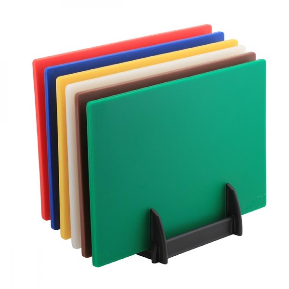 Genware High Density Chopping Board Set 6 Colours & Rack
