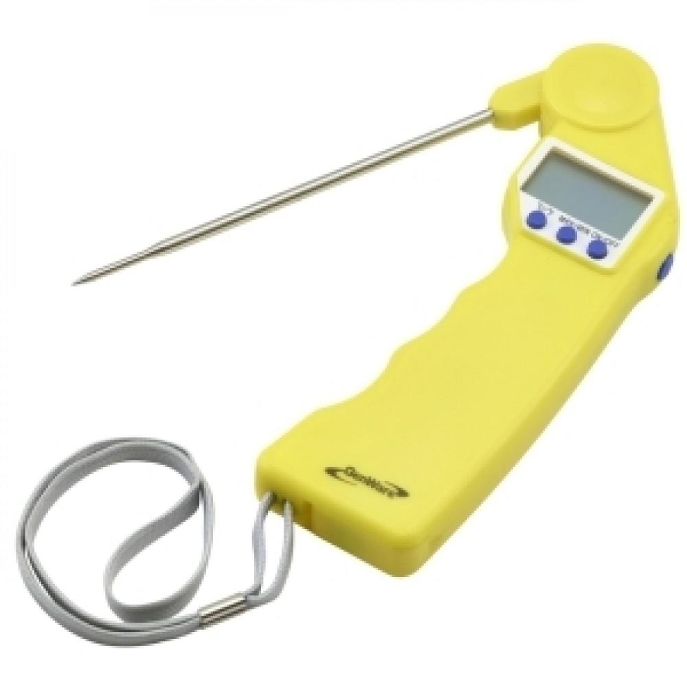 Genware Folding Probe Pocket Thermometer Yellow -50 to +300 deg C