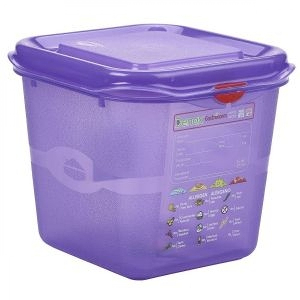 Genware Polycarbonate Allergen Container Purple GN 1/6 150mm Deep 2.6L