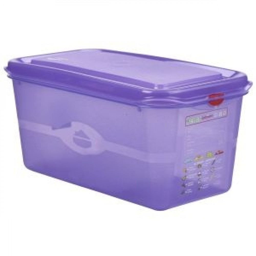 Genware Polycarbonate Allergen Container Purple GN 1/3 150mm Deep 6L