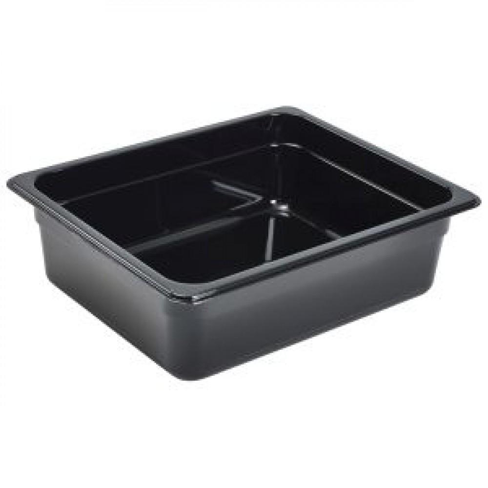 Genware Polycarbonate Black Gastronorm 1-2 100mm deep