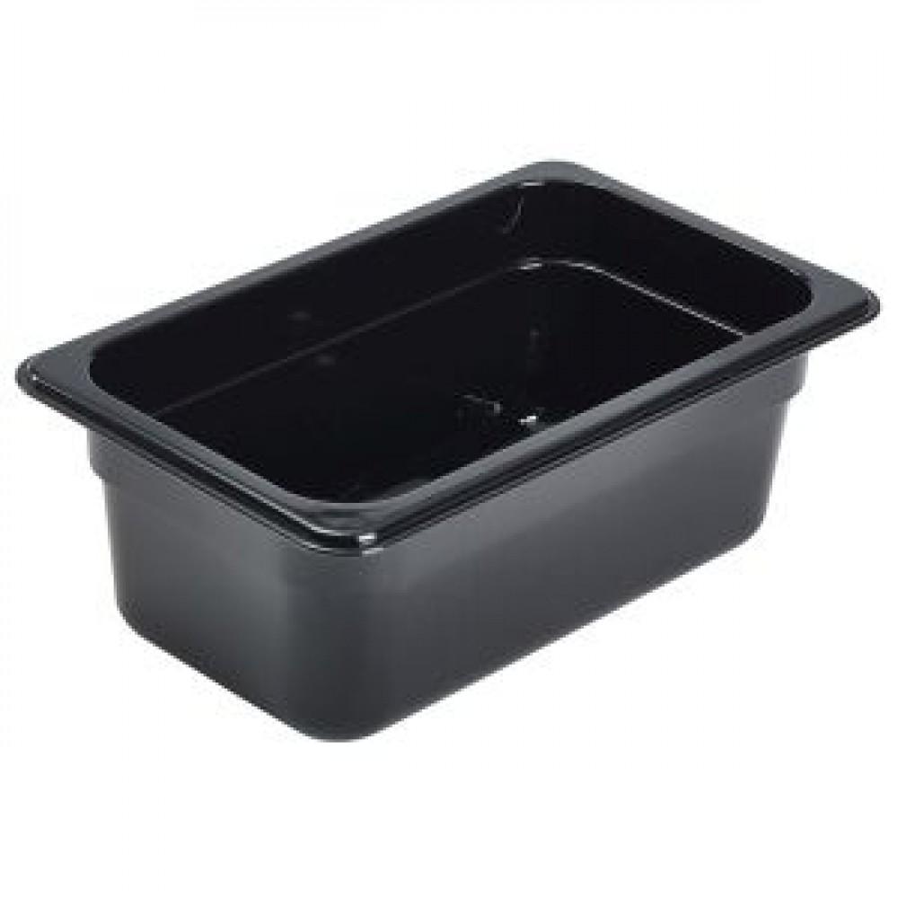 Genware Polycarbonate Black Gastronorm 1-4 100mm deep