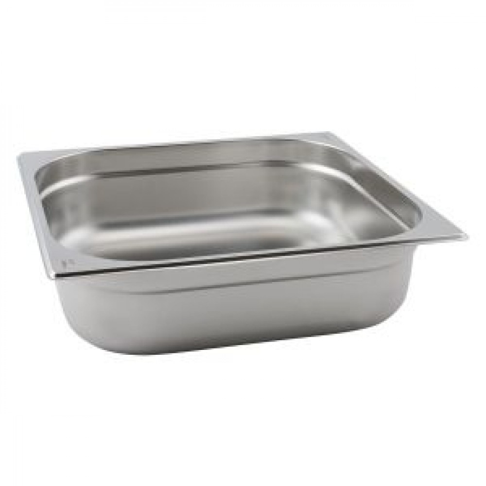 Genware Stainless Steel Gastronorm 2-3 100mm Deep