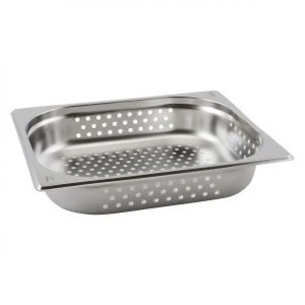Genware Stainless Steel Perforated Gastronorm 1-2 65mm Deep