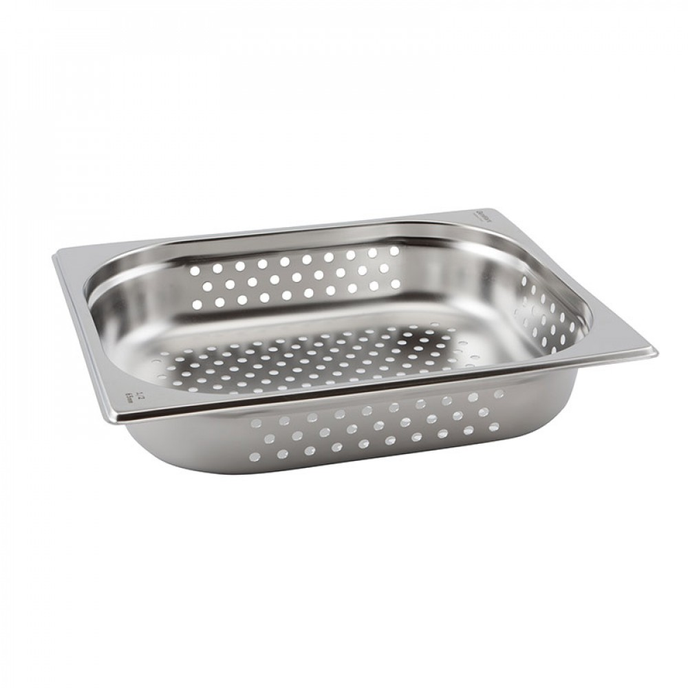 Genware Stainless Steel Perforated Gastronorm 1-2 100mm Deep