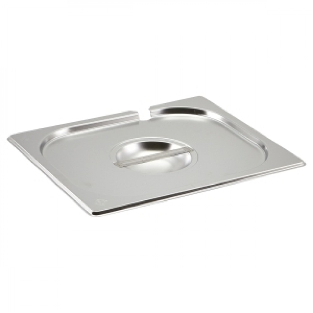 Genware Stainless Steel Gastronorm Notched Lid 1-2
