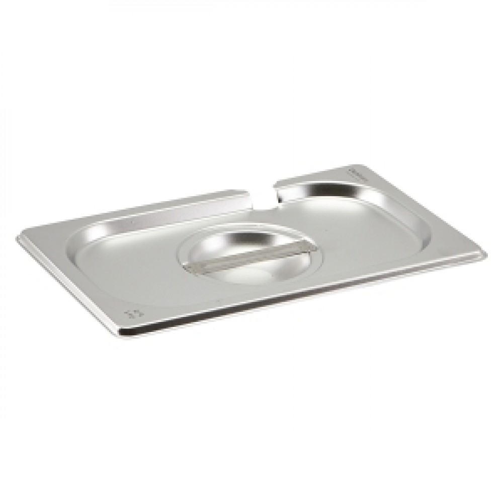Genware Stainless Steel Gastronorm Notched Lid 1-4
