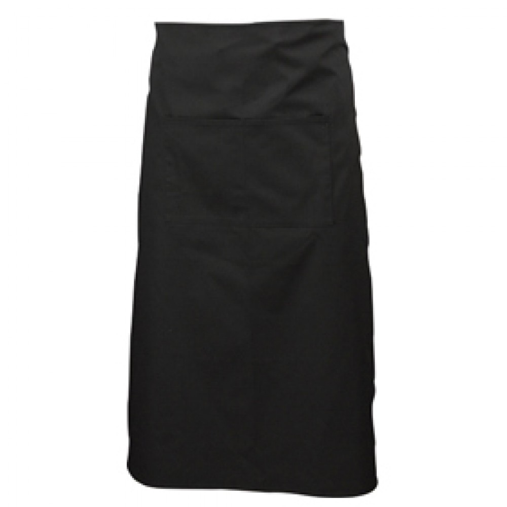 Genware Long Apron with Pocket Black 70cm x 90cm
