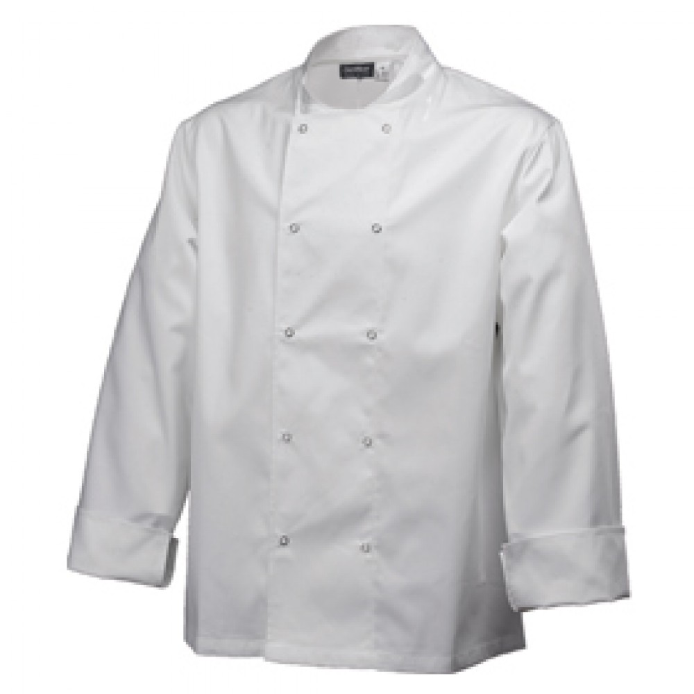 "Genware Basic Stud Chef Jacket Long Sleeve White S 36""-38"""