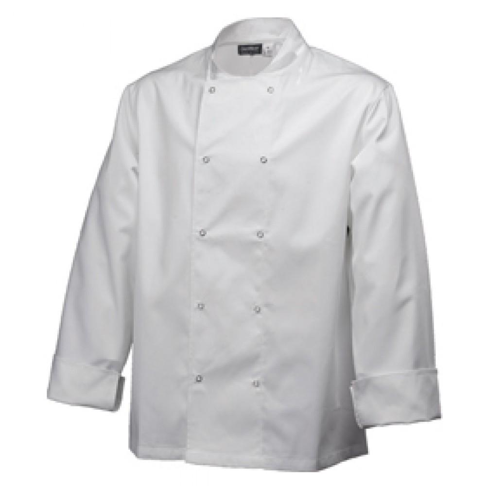 """Genware Basic Stud Chef Jacket Long Sleeve White L 44""""-46"""""""