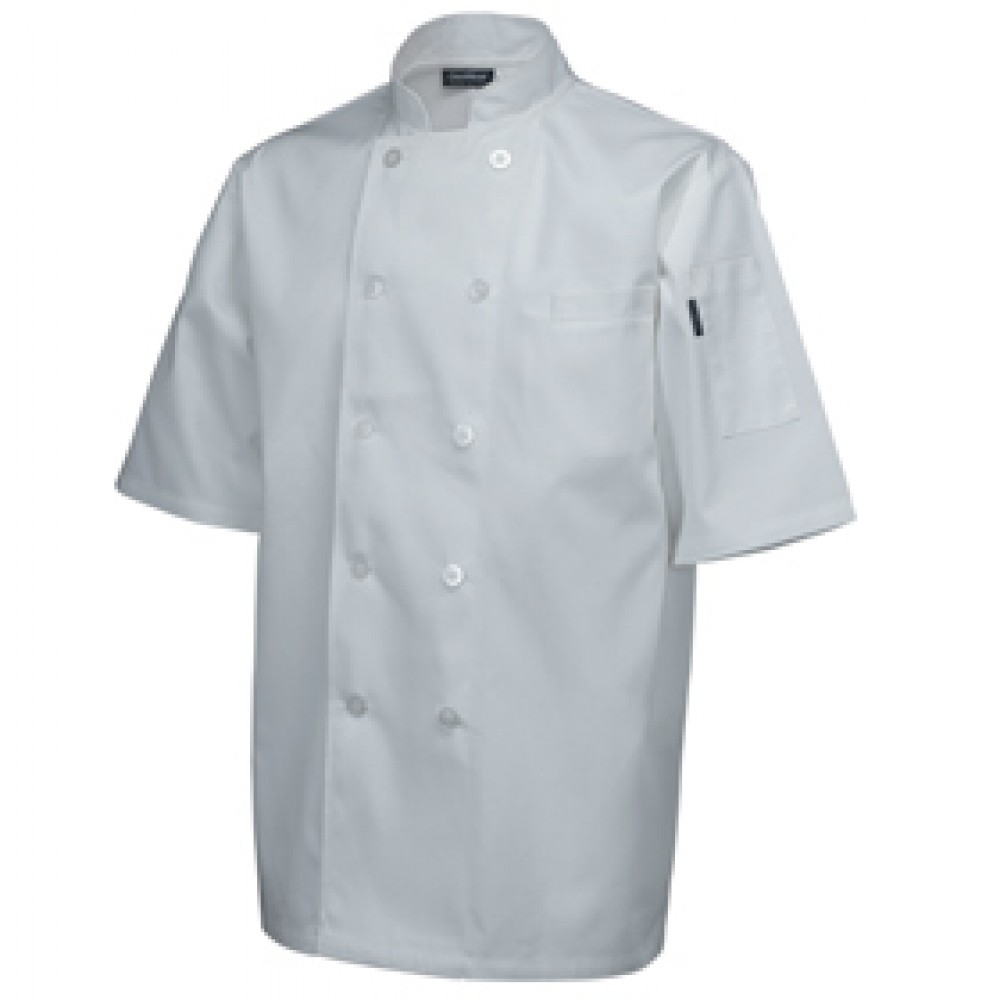 "Genware Standard Chef Jacket Short Sleeve White  XS 32""-34"""