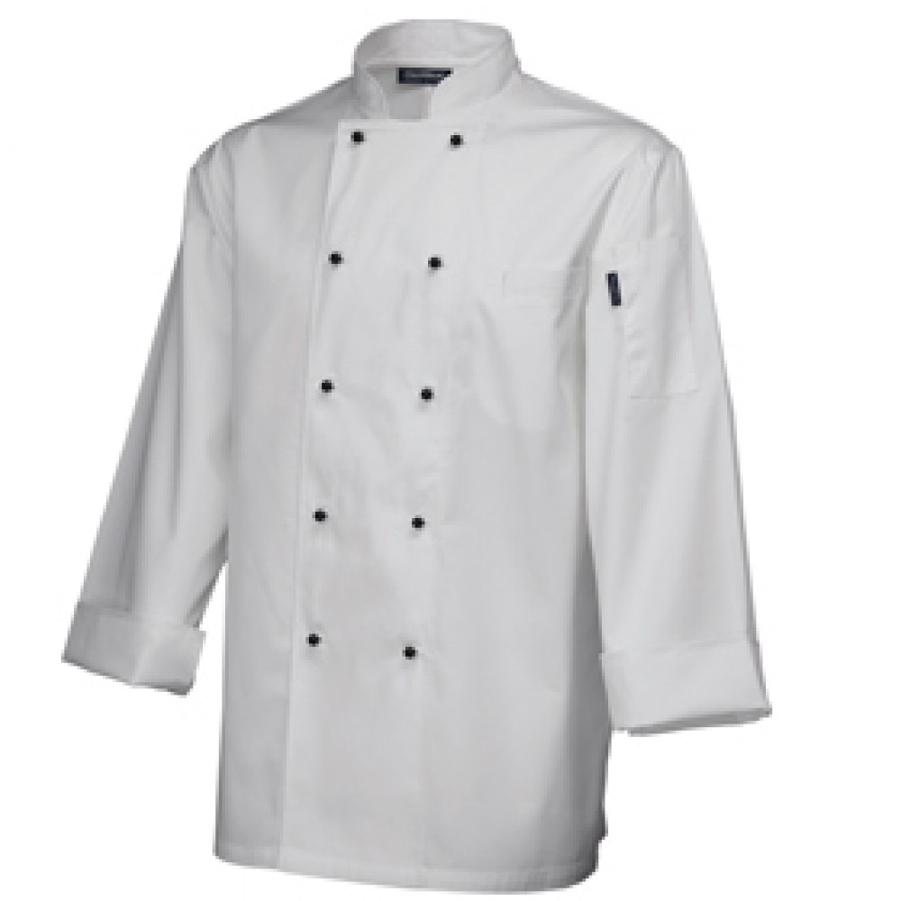 "Genware Superior Chef Jacket Long Sleeve White L 44""-46"""