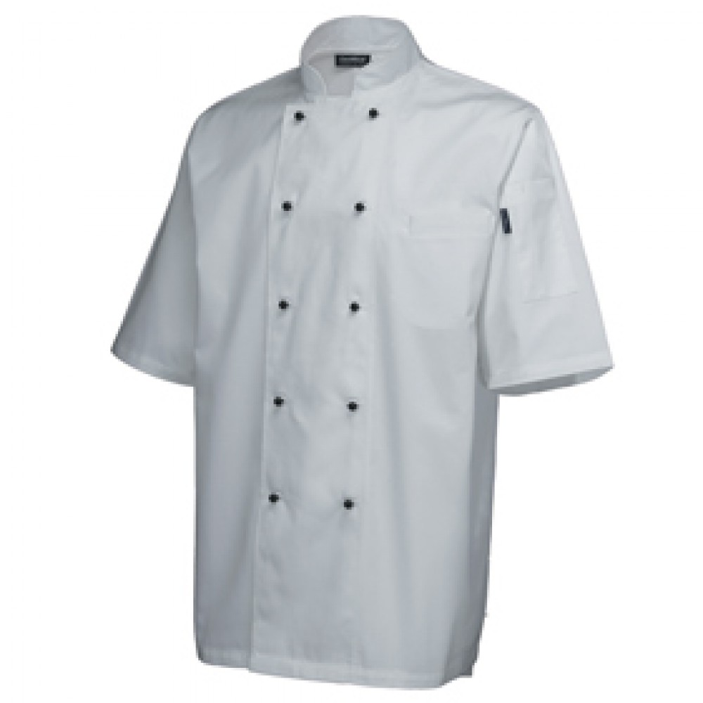 "Genware Superior Chef Jacket Short Sleeve White S 36""-38"""