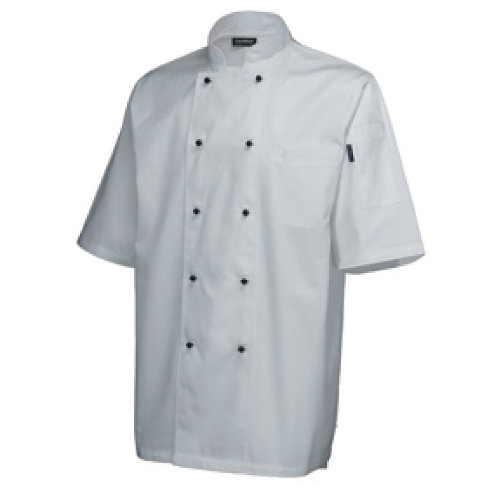 "Genware Superior Chef Jacket Short Sleeve White L 44""-46"""