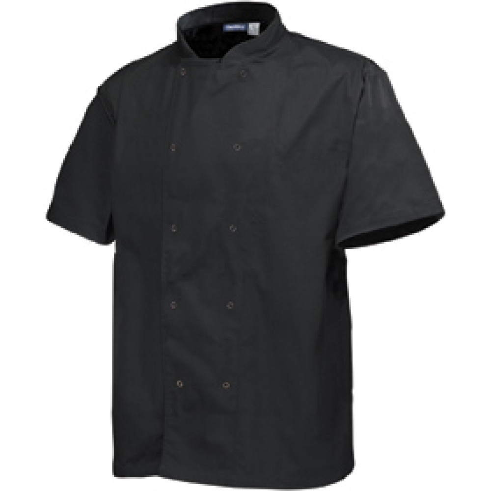 "Genware Basic Stud Chef Jacket Short Sleeve Black L 44""-46"""