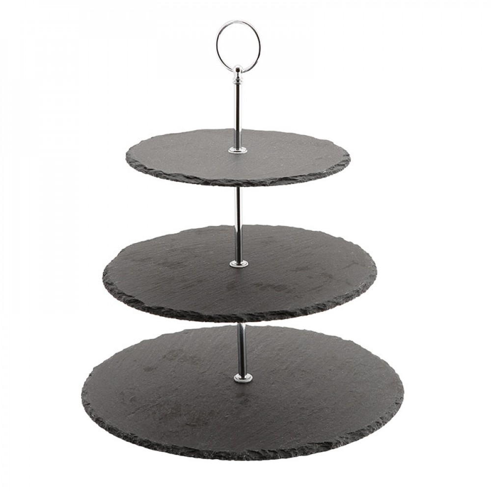 Genware Slate 3 Tier Cake Stand 12cm, 25cm and 30cm Plates