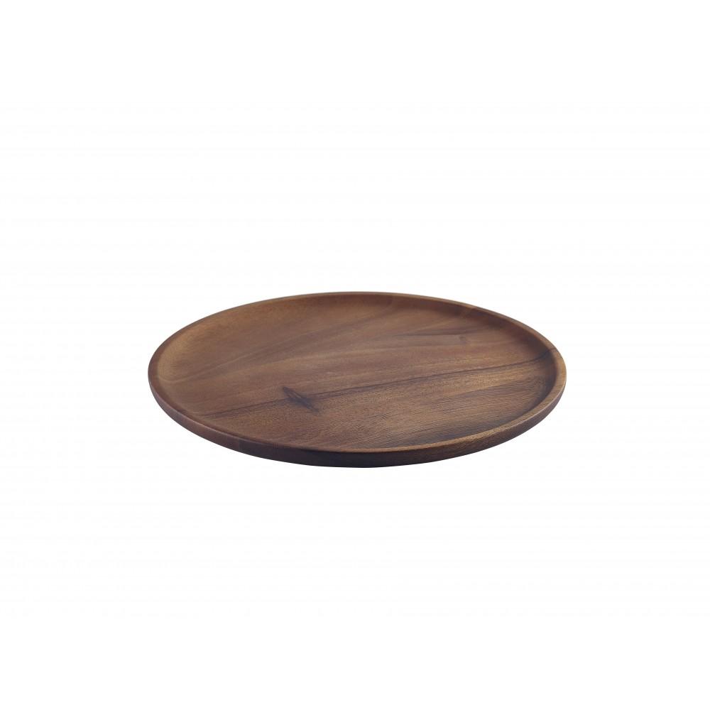 Genware Acacia Wood Serving Plate 26cm Dia