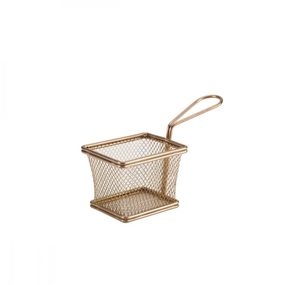 Genware Copper Serving Fry Basket 10x8x7.5cm
