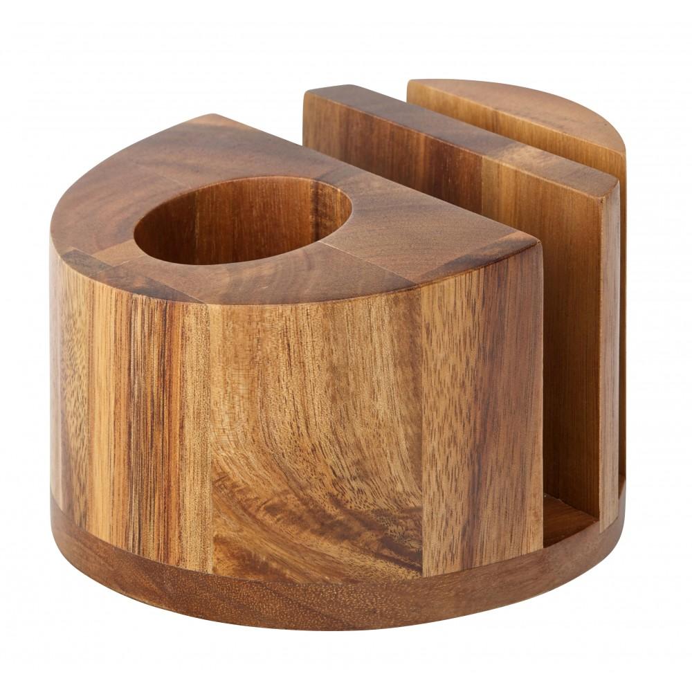 Utopia Acacia Wood Menu Standcutlery And Napkin Holder Round