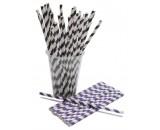 "Berties Paper Straw 8"" Black & White Stripe"