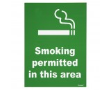 Berties Sign Smoking Permitted Area A5 Plastic