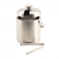 Genware Ice Bucket Stainless Steel Insulated with Tong 1.2L