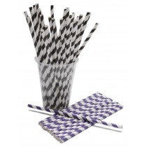 "Berties Paper Straw 8"" Purple & White Stripe"