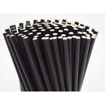 "Berties Paper Straw 8"" Black"