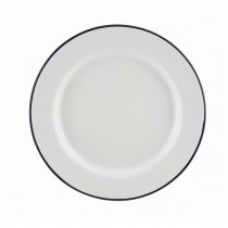 "Berties Enamel Wide Rim Plate Blue Rim 24cm-9.5"""