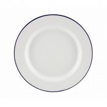 "Berties Enamel Wide Rim Plate Blue Rim 26cm-10.25"""