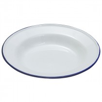 "Berties Enamel Deep Plate Blue Rim 24cm-9.5"""